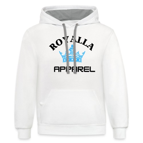 Royalla Apparel LogoBlack with Blue Words - Unisex Contrast Hoodie