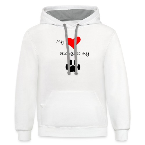 Dog Lovers shirt - My Heart Belongs to my Dog - Contrast Hoodie