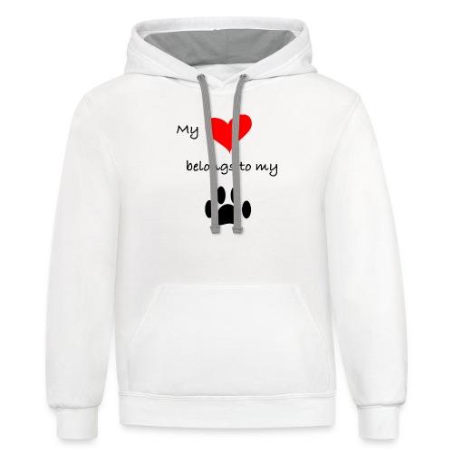 Dog Lovers shirt - My Heart Belongs to my Dog - Contrast Hoodie
