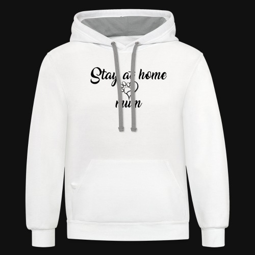 Stay At Home Mum - Unisex Contrast Hoodie