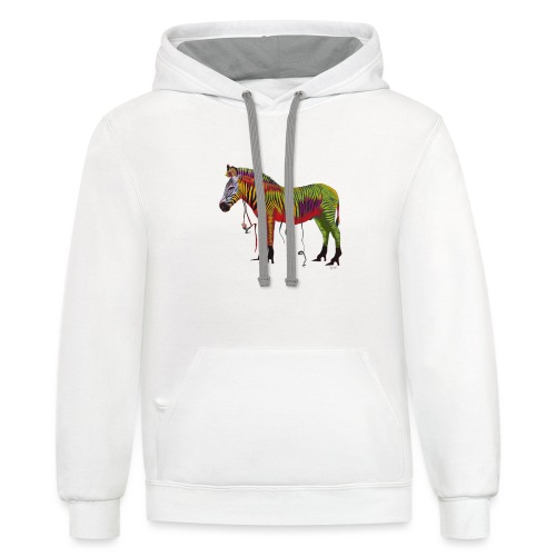 Ned the Performing Zebra - Contrast Hoodie