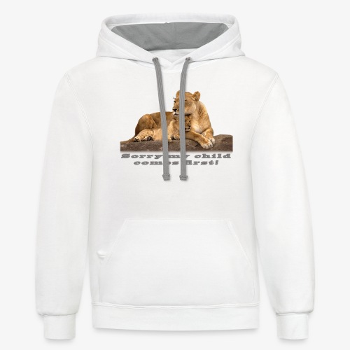 Lion-My child comes first - Contrast Hoodie