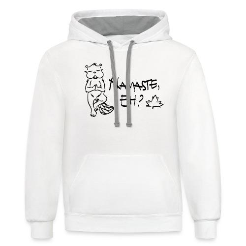 NAMASTE EH (black print) - Contrast Hoodie