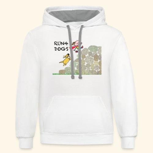 Dog chasing kid - Contrast Hoodie
