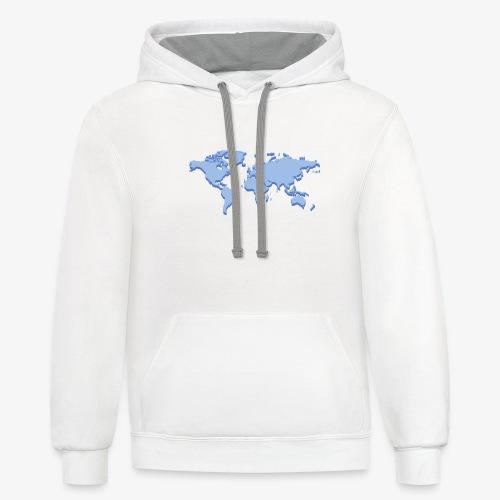 Blue Earth Map - Unisex Contrast Hoodie