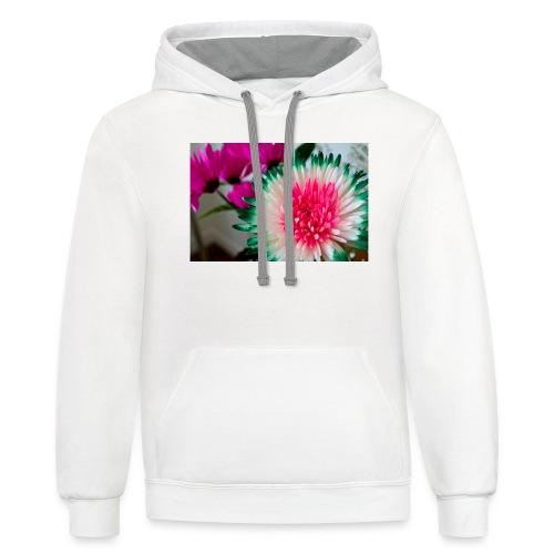 Flowery Words! - Unisex Contrast Hoodie
