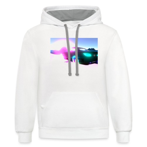 Nightvision Cyberspace Poster - Unisex Contrast Hoodie