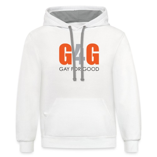 Gay For Good Logo Blk - Unisex Contrast Hoodie