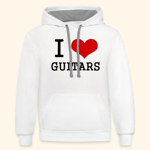 I love guitars - Unisex Contrast Hoodie