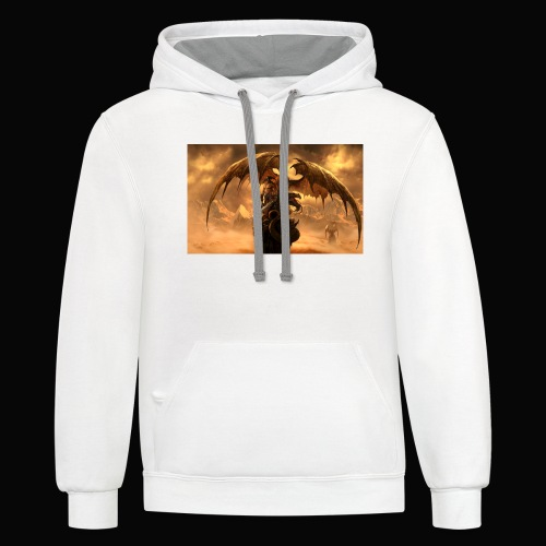 Dragon féroce - Unisex Contrast Hoodie