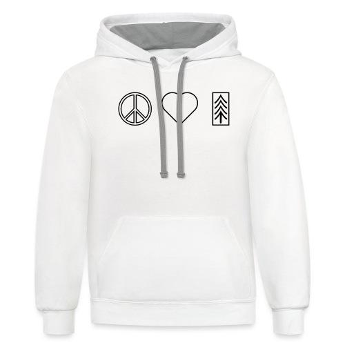 Peace Love Venture (Black) - Unisex Contrast Hoodie