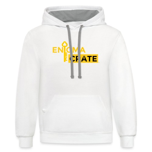gold on black enigma crate logo - Unisex Contrast Hoodie