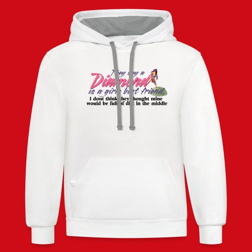 Softball Diamond is a girls Best Friend - Unisex Contrast Hoodie