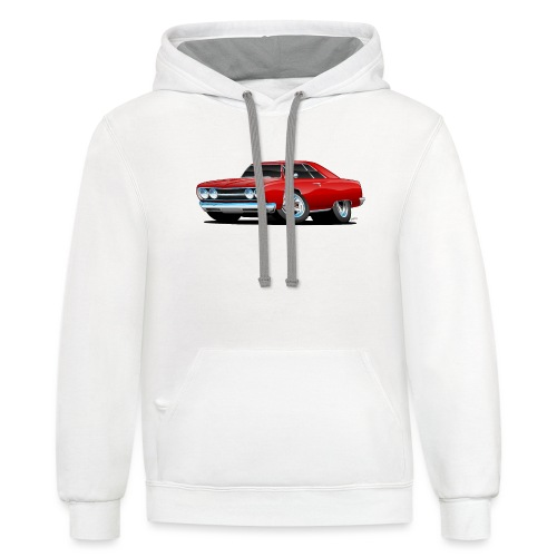 Classic Muscle Car Cartoon - Contrast Hoodie