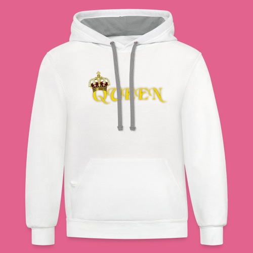 GOLD QUEEN CROWN GEMS AND DIAMONDS - Contrast Hoodie