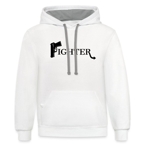 Fighter Solid Black - Unisex Contrast Hoodie