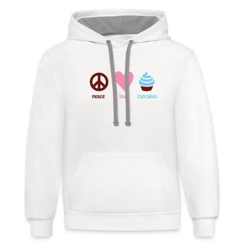 peacelovecupcakes pixel - Contrast Hoodie