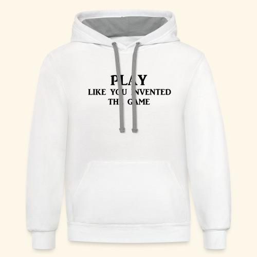 play like game blk - Unisex Contrast Hoodie