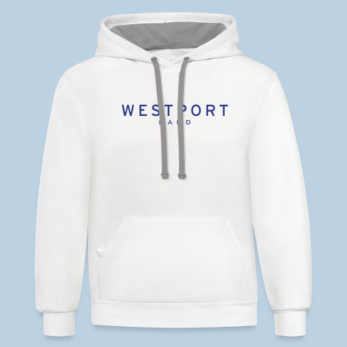 Westport Text Blue on transparent - Unisex Contrast Hoodie