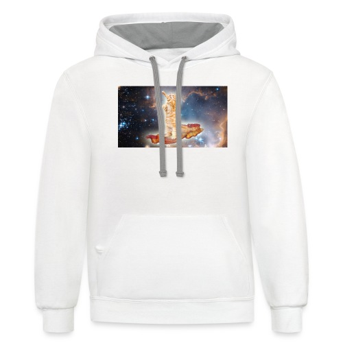 Cat on bacon. - Contrast Hoodie