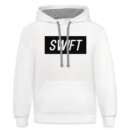 Mens Black & Grey - Hoodie : Swift Logo - Contrast Hoodie