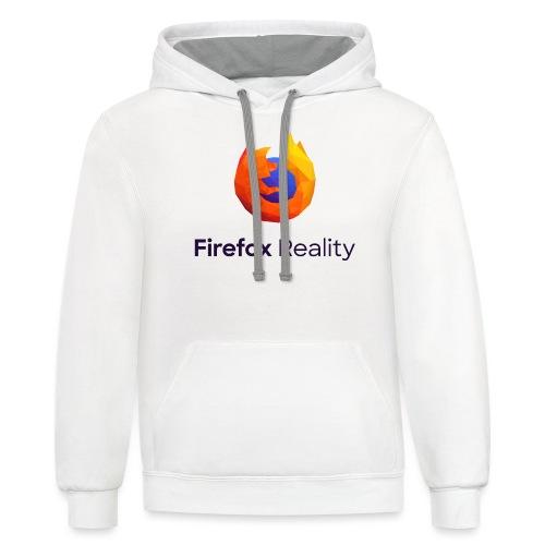 Firefox Reality - Transparent, Vertical, Dark Text - Unisex Contrast Hoodie