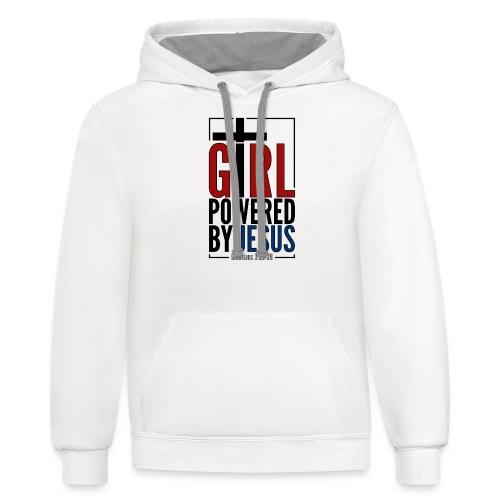 Girl Powered By Jesus | #GirlPoweredByJesus - Unisex Contrast Hoodie