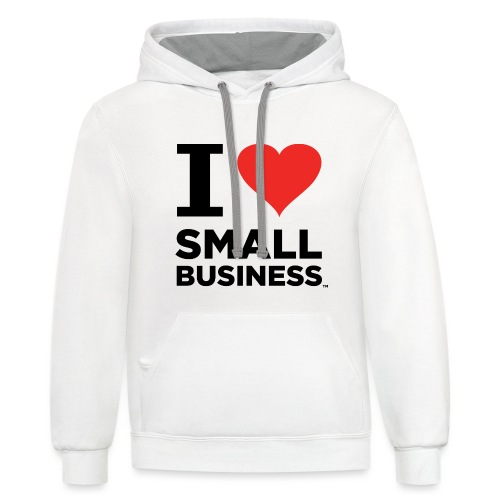 I Heart Small Business (Black & Red) - Unisex Contrast Hoodie