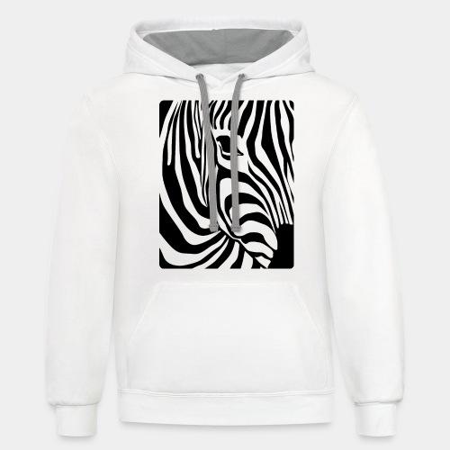zebra black white - Contrast Hoodie