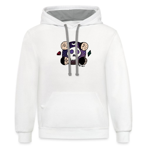 Moon Skull from Outer Space - Unisex Contrast Hoodie