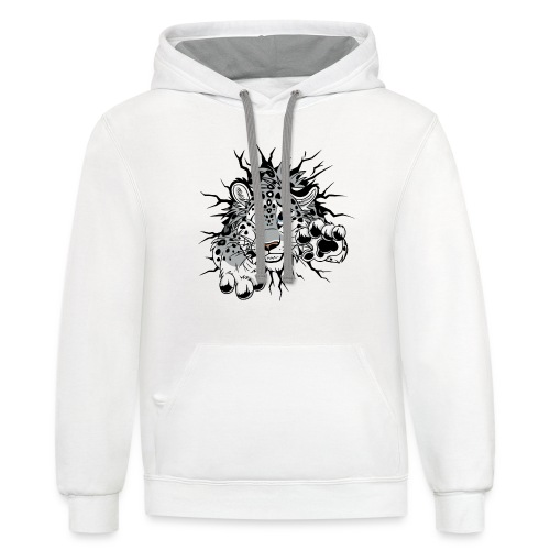 STUCK Snow Leopard (double-sided) - Unisex Contrast Hoodie