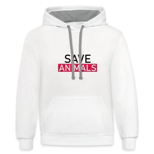 SAVE ANIMALS - Unisex Contrast Hoodie