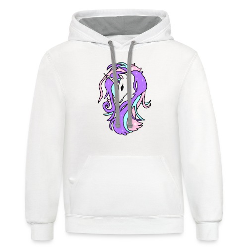 png sparkiling unicorn spreadshirt - Contrast Hoodie