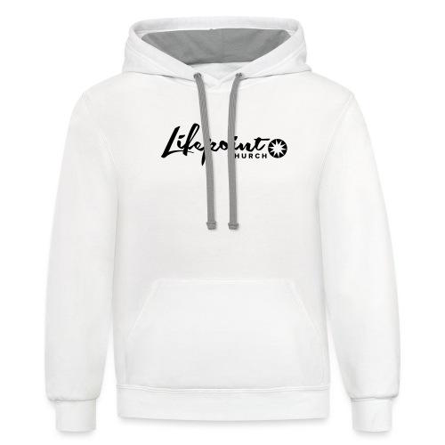 Logo Horizontal Black - Unisex Contrast Hoodie