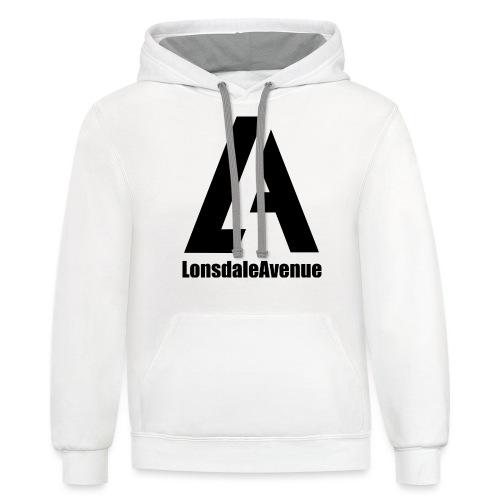 Lonsdale Avenue Logo Black Text - Unisex Contrast Hoodie