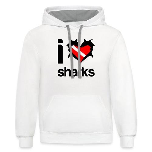 I Love Sharks - Unisex Contrast Hoodie