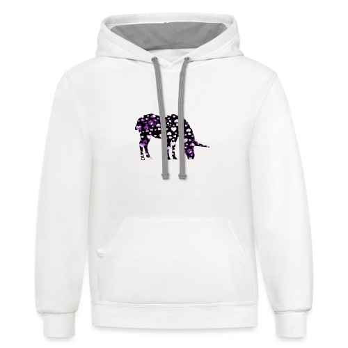 Unicorn Hearts purple - Contrast Hoodie