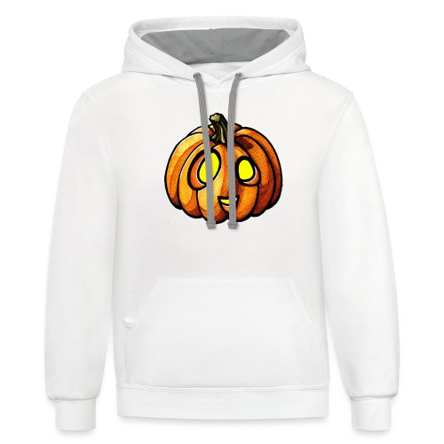 Pumpkin Halloween watercolor scribblesirii - Contrast Hoodie