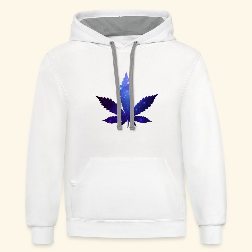 Cannabis Leaf - Galaxy - Weed - Contrast Hoodie