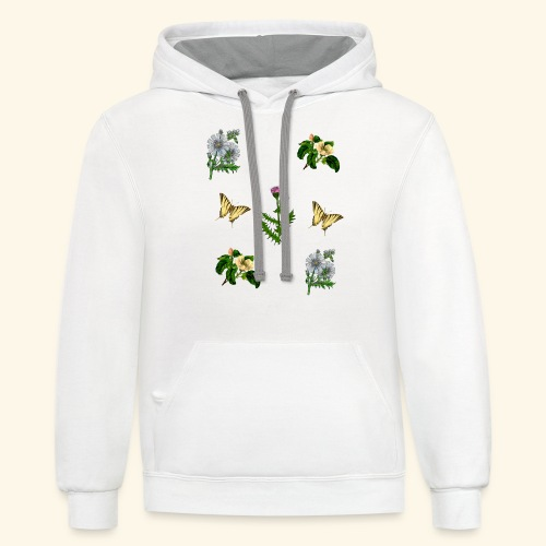 vintage bloom Botanical Design - Contrast Hoodie