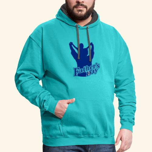 Fathers Day Child And Father Design - Contrast Hoodie