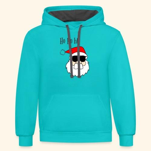 Christmas Santa HoHoHo design - Contrast Hoodie
