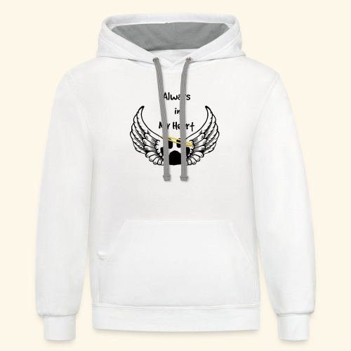 Always In my Heart Angle wings And paw Design - Contrast Hoodie