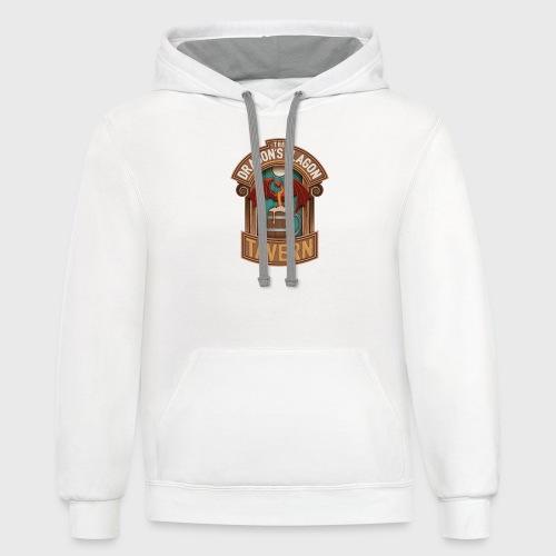the dragons flagon tavern dragon fantasy - Unisex Contrast Hoodie