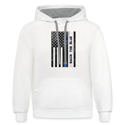 BACK THE Blue Police Officer USA - Unisex Contrast Hoodie