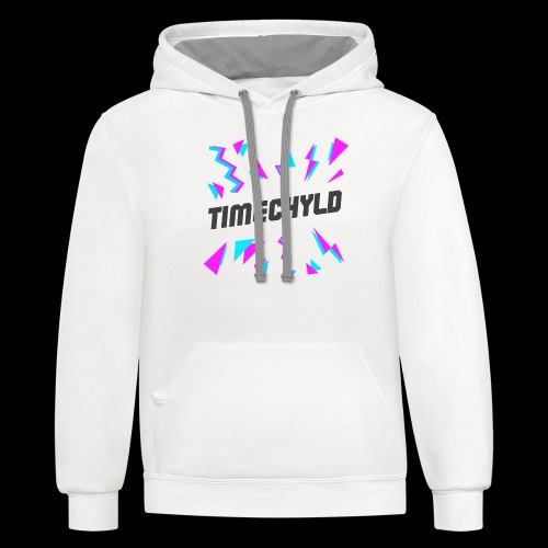 Timechyld Logo with Retro Pattern (Black) - Unisex Contrast Hoodie