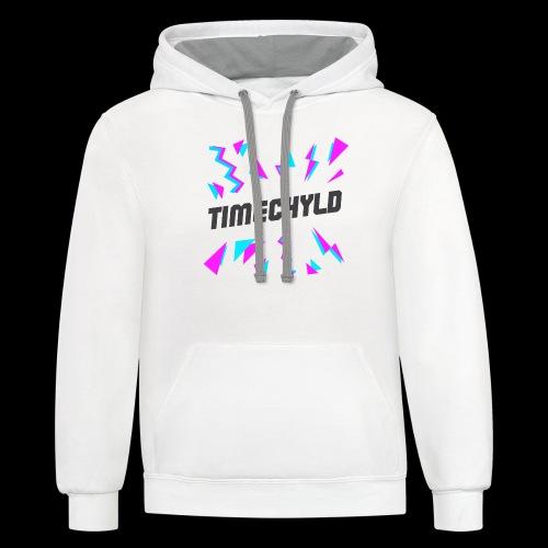 Timechyld Logo with Retro Pattern (Black) - Unisex Contrast Hoodie