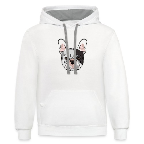pngtree french bulldog dog cute pet - Unisex Contrast Hoodie
