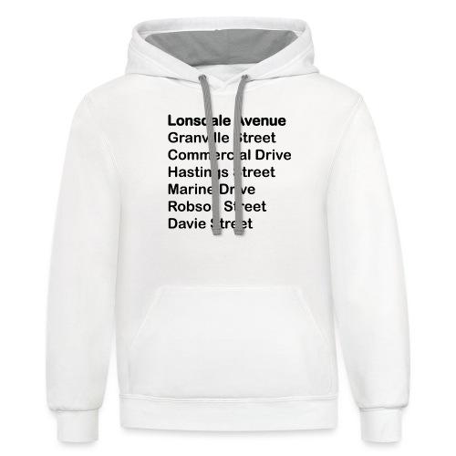 Street Names Black Text - Unisex Contrast Hoodie