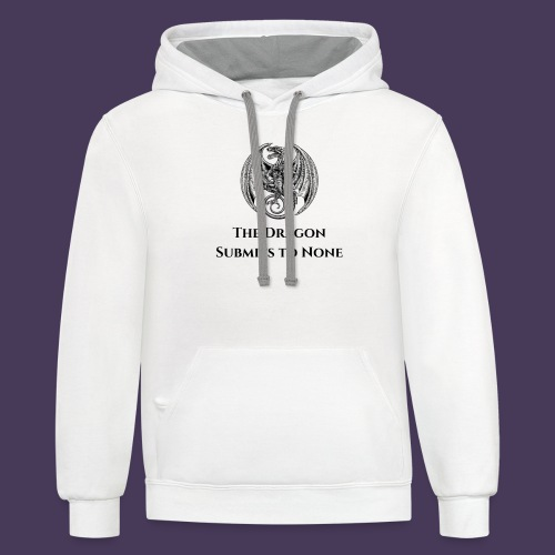 The dragon submits to none black - Unisex Contrast Hoodie